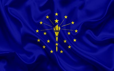 Indiana Flag, flags of States, flag State of Indiana, USA, state Indiana, blue silk flag, Indiana coat of arms