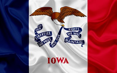 Iowa Flag, flags of States, flag State of Iowa, USA, state Iowa, silk flag, Iowa coat of arms