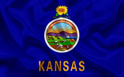 Kansas Flag, flags of States, flag State of Kansas, USA, state Kansas, blue silk flag, Kansas coat of arms