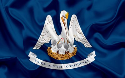 Louisiana Flag, flags of States, flag State of Louisiana, USA, state Louisiana, blue silk flag, Louisiana coat of arms