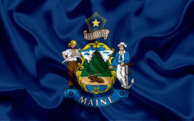 Maine Flag, flags of States, flag State of Maine, USA, state Maine, blue silk flag, Maine coat of arms