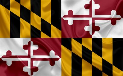 Maryland Flag, flags of States, flag State of Maryland, USA, state Maryland, silk flag