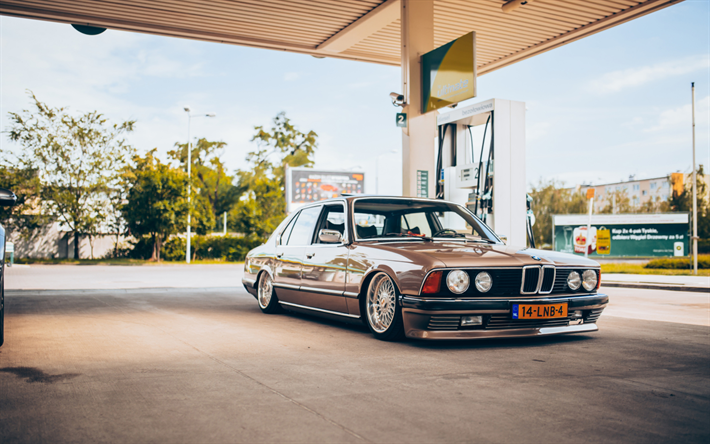 Download wallpapers BMW 7, E23, 4k, retro cars, understatement, tuning  7-Series, tuning E23, BMW for desktop free. Pictures for desktop free