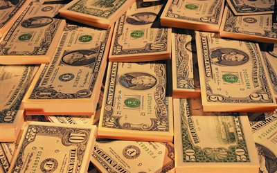 packs with 1 dollar bills, American dollars, mountain of money, finance concepts, business