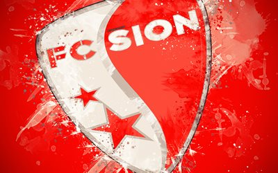 FC Sion, 4k, paint art, logo, creative, Swiss football team, Swiss Super League, emblem, red background, grunge style, Sion, Switzerland, football