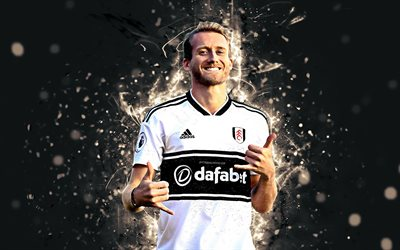 Andre Schurrle, 4k, abstract art, football, Fulham, soccer, Schurrle, Premier League, footballers, neon lights, Fulham FC