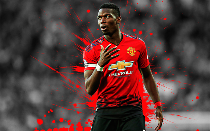Download Wallpapers Paul Pogba, 4k, Grunge, Manchester