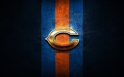 Chicago Bears, golden logo, NFL, blue metal background, american football club, Chicago Bears logo, american football, USA