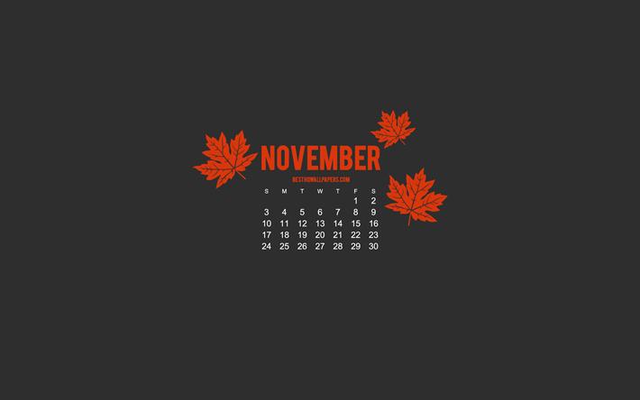 Download Wallpapers 2019 November Calendar Minimalism Style
