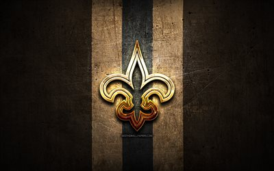 New Orleans Saints, golden logo, NFL, brown metal background, american football club, New Orleans Saints logo, american football, USA