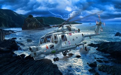 Westland Lynx, artwork, british military helicopter, Royal Navy, Westland Helicopters, British Army