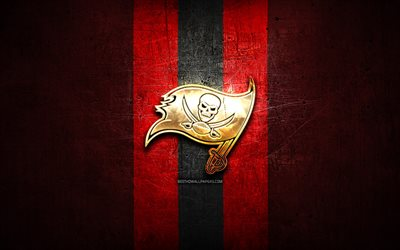 Tampa Bay Buccaneers, golden logo, NFL, red metal background, american football club, Tampa Bay Buccaneers logo, american football, USA