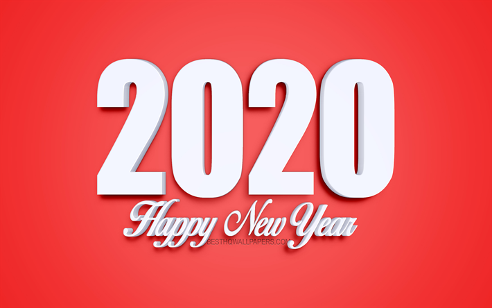 2020 Red Background, 2020 Year concepts, red 2020 art, creative background, 2020, 3d white letters, 2020 concepts