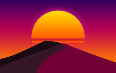 4k, sunset, purple mountains, creative, sun, abstract landscapes, minimal, sunset in mountains