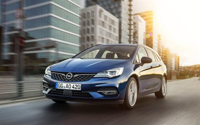 Opel Astra Sports Tourer, 4k, route, 2019 voitures, mouvement flou, l'Opel Astra K, 2019, Opel Astra, voitures allemandes, Opel