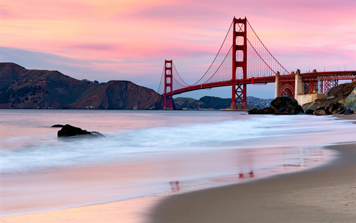 Golden Gate-Silta, illalla, sunset, San Francisco, Golden Gate-Salmen, California, USA