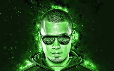 Afrojack, 4k, green neon lights, music stars, superstars, Dutch DJs, Nick van de Wall, fan art, Afrojack 4K