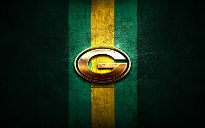 Green Bay Packers, golden logo, NFL, green metal background, american football club, Green Bay Packers logo, american football, USA