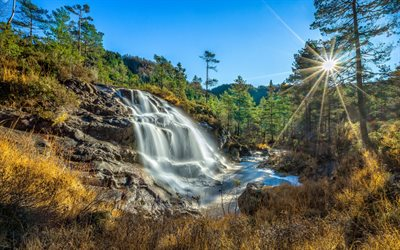 beautiful waterfall, sunset, mountain landscape, waterfalls, Rogaland, Kvitingen, Norway