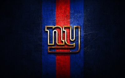 New York Giants, golden logo, NFL, blue metal background, american football club, New York Giants logo, american football, USA, NY Giants