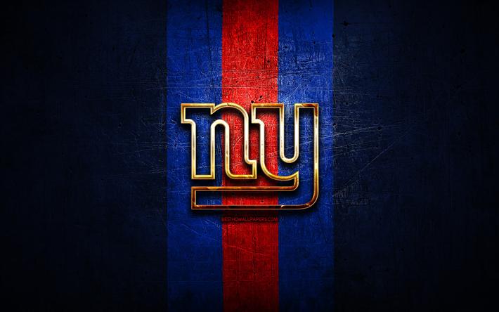Download Wallpapers New York Giants Golden Logo Nfl Blue
