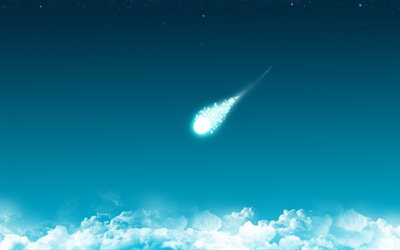 falling comet, blue sky, clouds, blue comet, minimal, artwork, comets