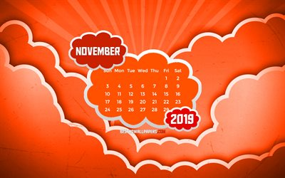 November 2019 Calendar, 4k, orange clouds, autumn, 2019 calendar, November 2019, creative, abstract clouds, November 2019 calendar with clouds, Calendar November 2019, orange background, 2019 calendars