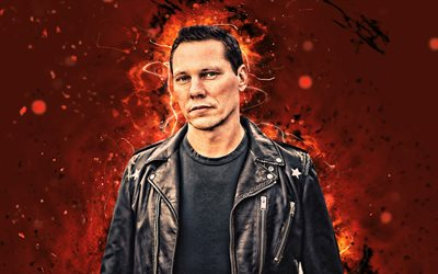 Tiesto, 4k, orange neon light, Dutch DJs, music stars, Tijs Michiel Verwest, DJ Tiesto, superstars, Tiesto 4K