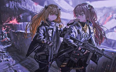 Ump-45, Ump-9, battle, Girls Frontline, artwork, SRPG, manga, Girls Frontline characters