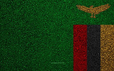 Flag of Zambia, asphalt texture, flag on asphalt, Zambia flag, Africa, Zambia, flags of African countries