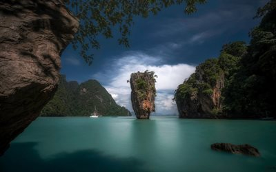 Phang Nga Bay, Khao Phing Kan, James Bond Island, Phuket, tropical islands, bay, Thailand