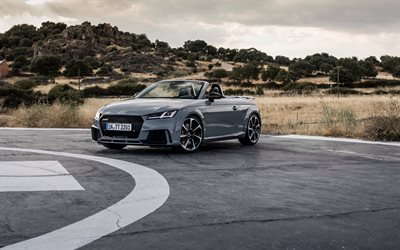 Audi TT RS, 2019, exterior, gray convertible, new gray TT RS, sports coupe, race track, German sports cars, Audi