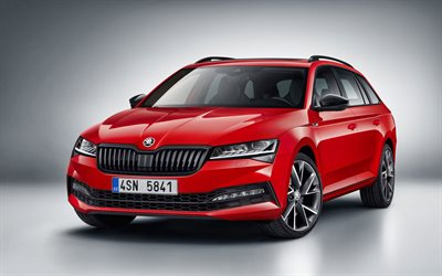 2020, Skoda Superb Combi, 4x4 Sportline, exterior, front view, red station wagon, new red Superb Combi, Czech cars, Skoda