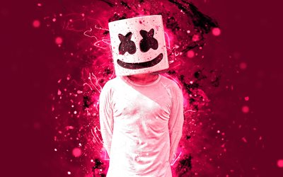 Marshmello, 4k, pink violet neon, american DJ, music stars, Christopher Comstock, Marshmello 4K, artwork, superstars, fan art, DJ Marshmello, DJs, creative