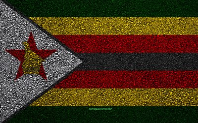Flag of Zimbabwe, asphalt texture, flag on asphalt, Zimbabwe flag, Africa, Zimbabwe, flags of African countries