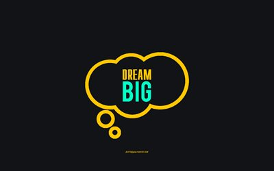 Dream big, gray background, cloud icon, minimalism art, Dream big concepts