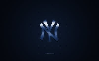 New York Yankees, American baseball club, MLB, blue logo, blue carbon fiber background, baseball, New York, USA, Major League Baseball, New York Yankees logo
