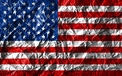 USA flag, 4k, crumpled paper, North American countries, creative, Flag of USA, american flag, national symbols, United States of America, North America, USA 3D flag, USA