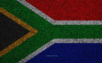 Flag of South Africa, asphalt texture, flag on asphalt, South Africa flag, Africa, South Africa, flags of African countries