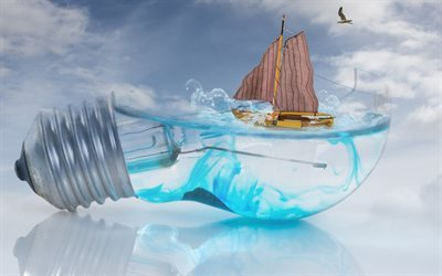 3d light bulb, water, sailboat, concepts, lamp with water
