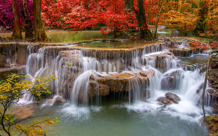 waterfall, autumn, red leaves, red trees, river, autumn forest