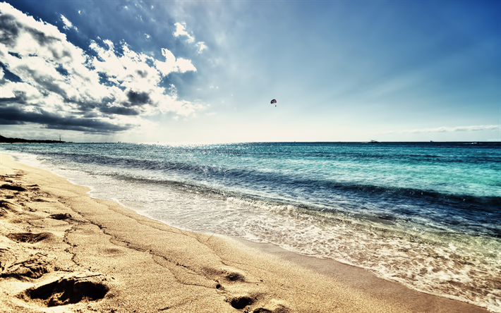 Download Wallpapers Sea, Waves, Beach, Sand, Evening -5247
