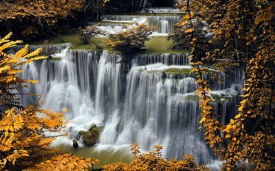 autumn, waterfall, river, autumn leaves, yellow leaves, Croatia, Plitvice Lakes