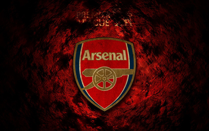 Download Wallpapers Arsenal FC, Fire Background, Logo