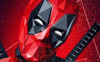 Deadpool, polygon style, art, superhero, portrait, Marvel