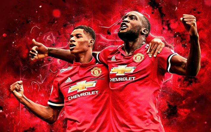 Download Wallpapers Marcus Rashford, Romelu Lukaku, Goal