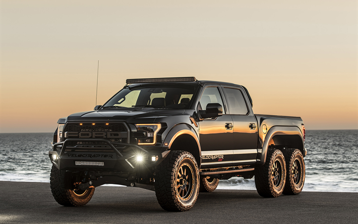 Download wallpapers Hennessey VelociRaptor 6x6, 2018, luxury