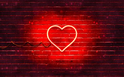 Heart neon icon, 4k, red background, neon symbols, Heart, creative, neon icons, Heart sign, love signs, Heart icon, love icons, love concepts