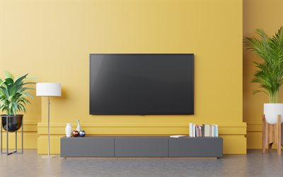 large TV in the living room, yellow walls in the living room, stylish interior design, modern design, living room
