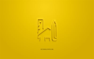 House Design 3d icon, yellow background, 3d symbols, House Design, creative 3d art, 3d icons, House Design sign, Construction 3d icons